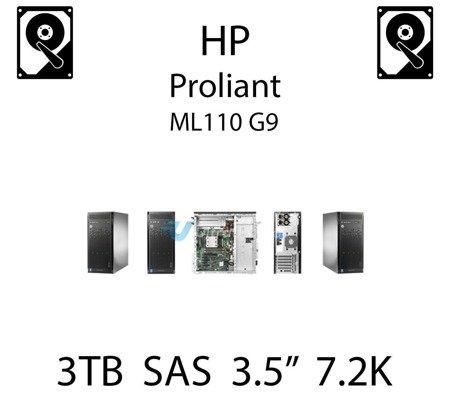 """3TB 3.5"""" dedykowany dysk serwerowy SAS do serwera HP ProLiant ML110 G9, HDD Enterprise 7.2k, 6Gbps - 652766-B21 (REF)"""
