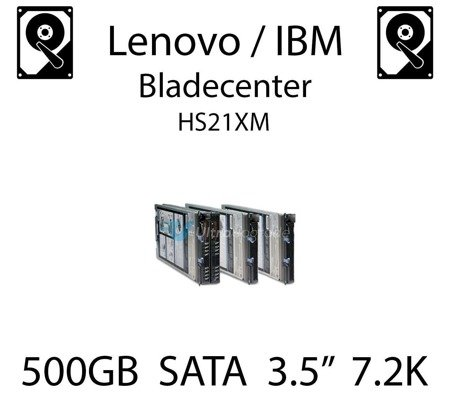 "500GB 3.5"" dedykowany dysk serwerowy SATA do serwera Lenovo / IBM Bladecenter HS21XM, HDD Enterprise 7.2k, 300MB/s - 39M4514"