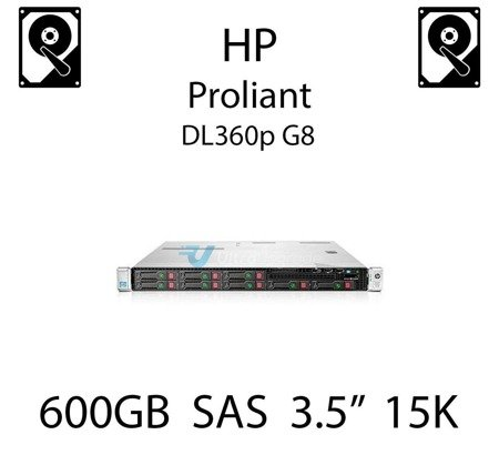 """600GB 3.5"""" dedykowany dysk serwerowy SAS do serwera HP ProLiant DL360p G8, HDD Enterprise 15k, 6Gbps - 653952-001 (REF)"""