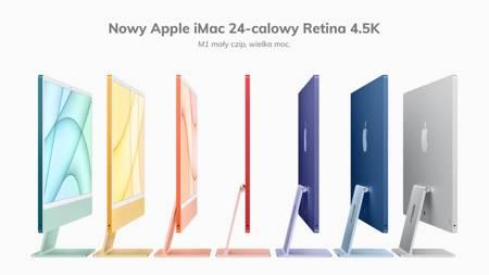 Apple iMac 24 Retina 4.5K Procesor M1 8 rdzeni 3,2GHz, GPU 8 rdzeni  SSD 256GB RAM 16GB Pomarańczowy (Orange)